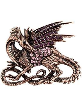 Drachen-Brosche groß Antik-Kupfer-Finish mit Kristallen (Organza-Geschenkbeutel enthalten)