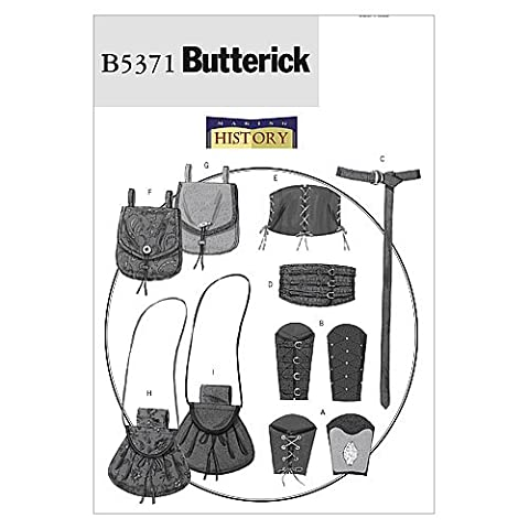 Butterick Patterns B5371 Size XM Small - Medium - Large Misses'/ Men's Wrist Bracers, Corset, Belt and Pouches, Pack of 1,