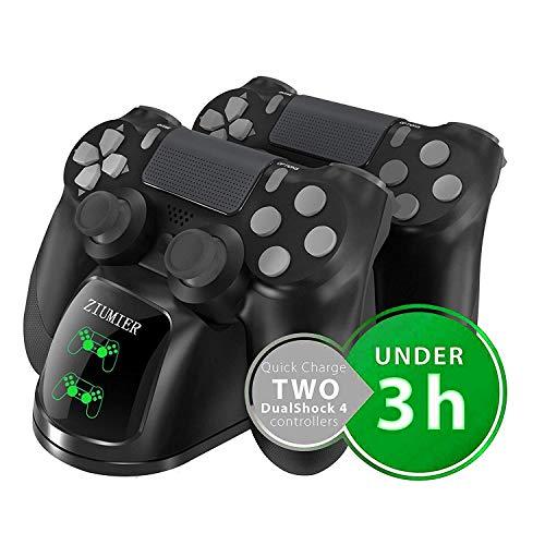 PS4 Controller Ladestation Charger, Likorlove Dualshock Docking Ladegerät Stand Mit USB Kabel und LED Für Sony Playstation 4 / PS4 Slim / PS4 Pro Game Controller (Schwarz mit LED-Anzeige)