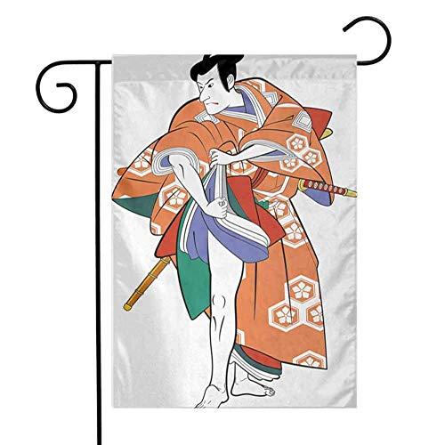 Ahaltao Bunter Garten-Flaggen-Kabuki-Masken-Kabuki-Schauspieler mit traditionellem Kostüm-historischem Edo Era Drama Japan Culture Farmhouse Yard Outdoor Decor Multicolor
