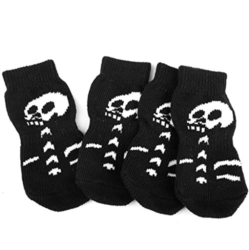 l Dekoration Set 30 * 75MM M Code Halloween Skelett Muster Haustier Socken schwarz + weiß 4 Packungen für Halloweendeko Make-up-Party Halloween Dekoration ()