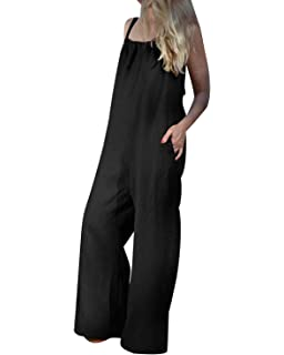 MINTLIMIT Cotton Linen Overall Loose Strap Sleeveless Long Baggy Playsuit Jumpsuit Dungarees Wide Leg Casual Pants