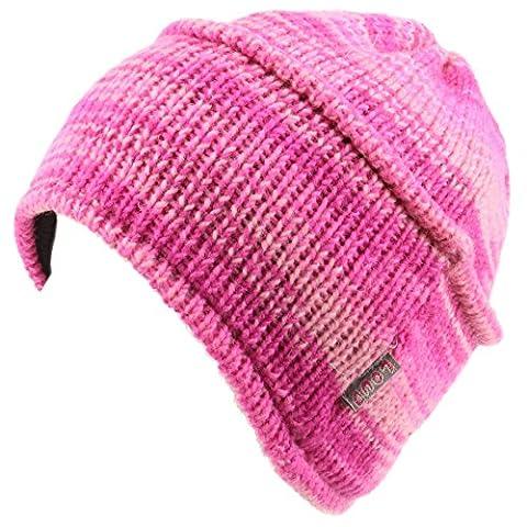 LOUDelephant Wool knit ridge beanie hat with fleece lining - Pink Space Dye
