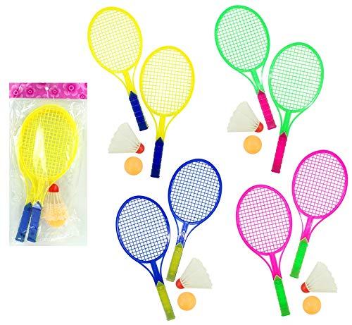 wuselwelt 61118WU, 4 x Federballspiel 4-teilig, 2 Schläger & 2 Bälle, Tennis, Federball, Badminton, Strandball, Beachball, Tennispiel-Set Ballspiel Tischtennis, Federballset, Badminton