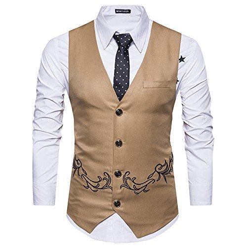 männer im Anzug, Weste, Weste, Weste für männer mit Bestickt,Khaki,M -