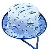 Arcweg Cappello Da Sole Per Bambini Cappelli Spiaggia Mare Berretti Bambino Bambina Estivi Modello Di Cartone Animato 100% Cotone Tesa Larga Sottogola Regolabile Blu 48CM