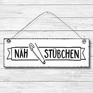 Nähstübchen – Türschild Dekoschild Wandschild Holz Deko Schild 10x30cm Holzdeko Holzbild Deko Schild Geschenk Mitbringsel Badezimmer nähen