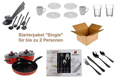 """Haushalt Starterset """"Single"""" – Wohneinrichtung Starterpaket – Einrichtungspaket – (Küche, Besteck, Geschirr)"""