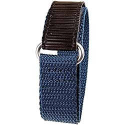 Minott Replacement Band Watch Band Textile Strap velcro black leather/blue 22mm