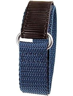 Minott Ersatzband Uhrenarmband Textilband Klettband Schwarz/Blau 18mm 19138