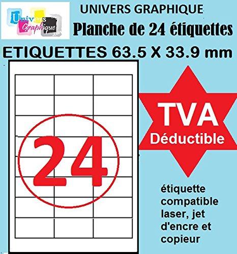 100 A4 adesivo foglio 24 63,5 x 33,9 millimetri carta con etichette per stampanti a getto d'inchiostro e laser
