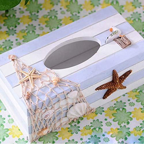 WANG Mediterranean Style Tissue Box Holder Case Ocean Series Wooden Tissue Box Cover Napkin Paper Storage Box Home Crafts,3 - Serie 3 Box Seat