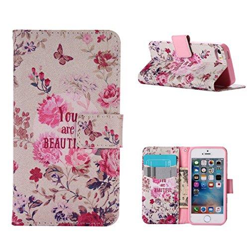MOONCASE IPhone 5 / 5S / SE Étui, Conception de Modèle Bookstyle Étui Housse en Cuir Case à rabat Coque de Protection Portefeuille TPU Case avec Carte de Crédit Fentes Béquille pour iPhone 5 / 5S / iP YG08