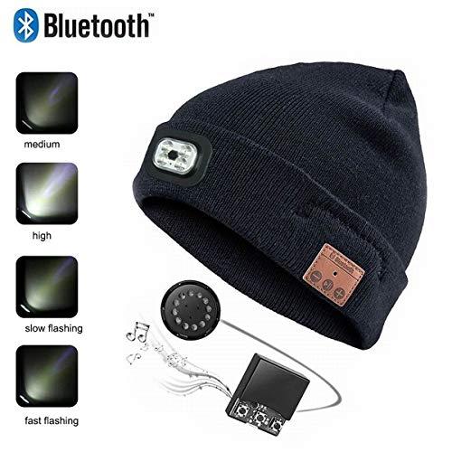 SSCJ Bonnet sans Fil Bluetooth Beanie Cap avec LED Phare USB chargeant Unisex Music Cap Running Ski Randonnée Camping Vélo/Répondre à Téléphone/Écouter de la Musiqu