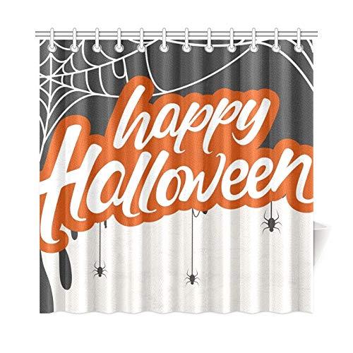 JOCHUAN Wohnkultur Bad Vorhang Kreative Scary Halloween Feier Happy Polyester Stoff Wasserdicht Duschvorhang Für Badezimmer, 72X72 Zoll Duschvorhänge Haken Enthalten (Für Scary Fonts Halloween)