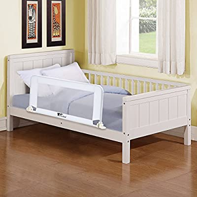 Amzdeal Baby Bed Rail Child Secure Bed Rail Compact Portable Toddler Safety Fold Bed Guard 102*40*50cm- White