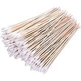 Hicarer 200 Pieces 6 Inch Wooden Sticks Cotton Swab Cleaning Cotton Sticks Wood Cotton Buds