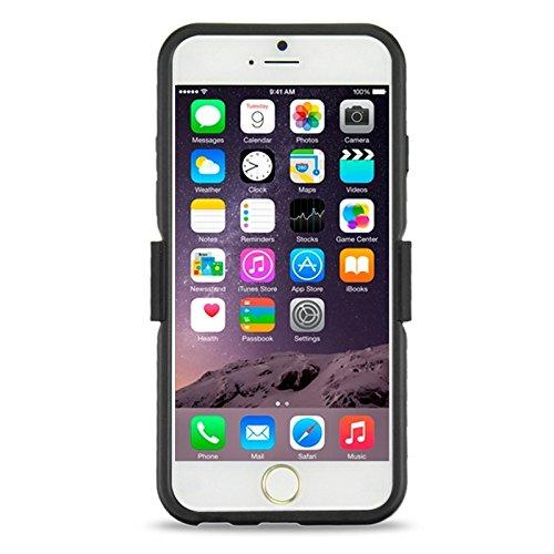 Phone case & Hülle Für iPhone 6 & 6S Kunststoff und TPU Kombi-Gehäuse mit drehbarem Clip und Halter ( Color : Red ) Black