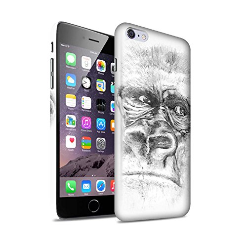 STUFF4 Matte Snap-On Hülle / Case für Apple iPhone 7 Plus / Gorilla / Affe Muster / Skizze Zeichnung Kollektion Gorilla / Affe