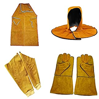 Almencla Men Women Welders Welding Apron Gloves Gloves Head Cover Safety Clothing