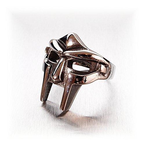 Miss-e-Jewels TM Warrior Gladiator Maschera da uomo in acciaio inox grande anello gotico Biker gotico Spartacus Romano Taglia S 92060