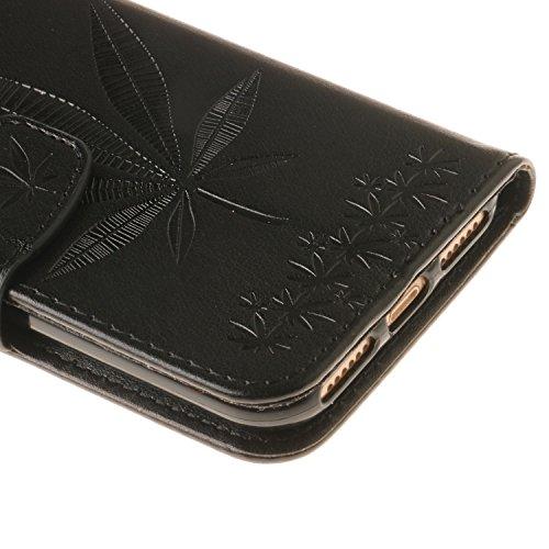 iPhone 7 Lederhülle, Aeeque® iPhone 7 Lila Brieftasche Flip Case Cover,[Retro Traumfänger Bilder] Kartenfach Standfunktion Handytasche für iPhone 7 mit Abnehmbar Handy Lanyard und Weich Silikon Innere Ahornblatt Schwarz