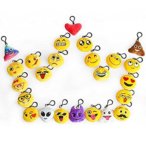 Emoji Party Favors Gifts, Runhome Lot Porte clés Emoji cadeaux anniversaire fêtes, Emoji Toys for Mother's Day Party Bag Fillers, Birthday Party Decoration Gifts, Kids Party Supplies, enfants Soft Toys, Emoji Keychain, Christmas Stocking Fillers(24 Pack)