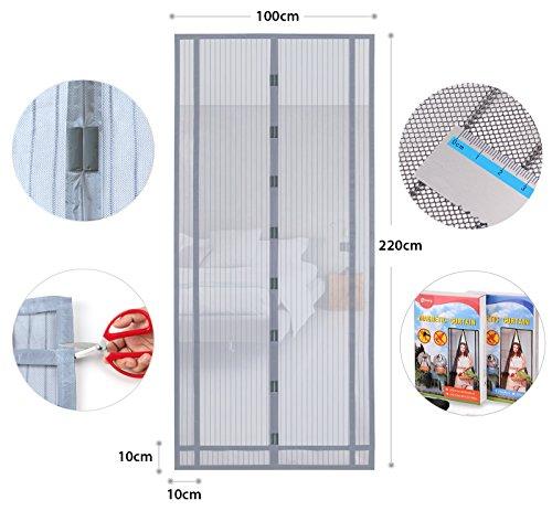 Sekey Cortina magnética para la protección contra insectos, el mosquitero magnético ideal para puerta de balcón, puerta de sótano, puerta de terraza (se puede cortar en altura y ancho) mediante montaje fácil de pegamento gris, 220x100 cm
