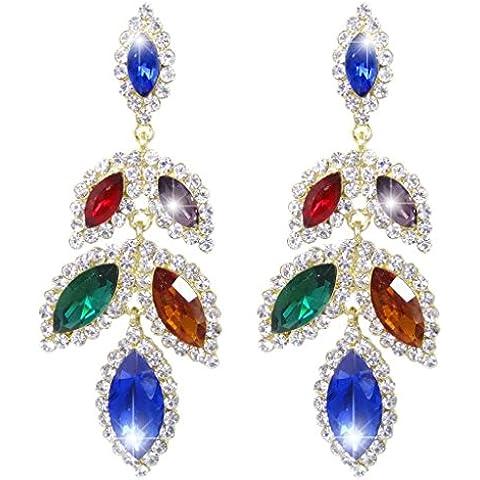 EVER FAITH® Gold-Tone del petalo del fiore Tear Drop ciondola gli orecchini di cristallo multicolore austriaca - Petalo Ciondola