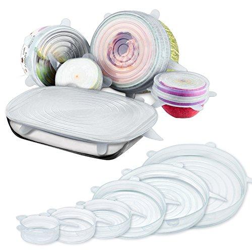 Silikon Stretch Behälter Deckel wiederverwendbar und Lebensmittel Bezügen mit verschiedenen Größen für Schale Flasche Becher Teller kann jar-blue und klar (6Stück) weiß