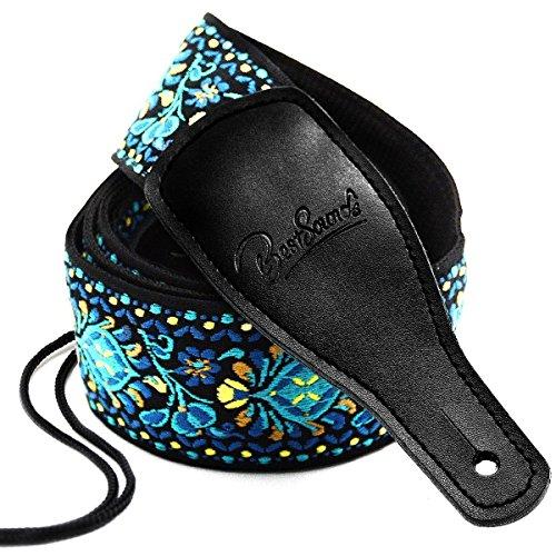 BestSounds, tracolla per basso e chitarra in 100% cotone, con estremità in pelle, con cordino, motivo jacquard ambidextrous Classical Weaving Pattern Black