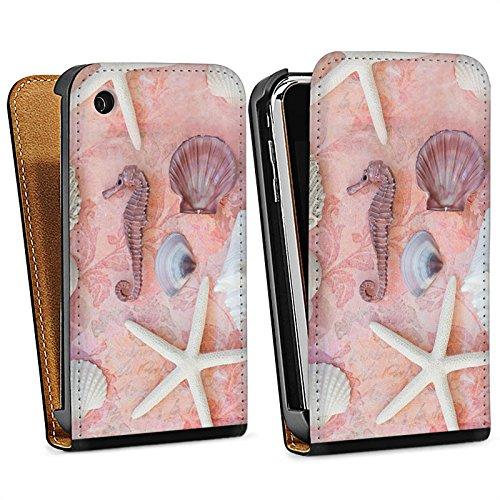 Apple iPhone 4 Housse Étui Silicone Coque Protection Hippocampe Coquillages Moules Étoile de mer Sac Downflip noir