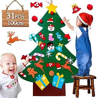 UUCOLOR 3D Árbol de Navidad 3.2ft DIY Fieltro Árbol de Navidad con 31pcs Adornos de extraíble Ornamente Wall Decor para niños