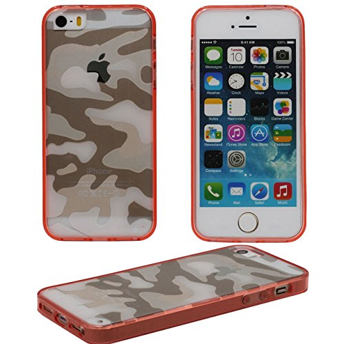 iPhone 5S Doux Étui de protection, Camouflage Motif Série Coque de Protection Case pour Apple iPhone 5 / 5S / 5SE Transparent Svelte Poids léger Case rouge