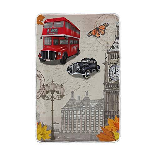vinlin Weinlese London Big Ben - Manta de Terciopelo para Viajes, salón,...