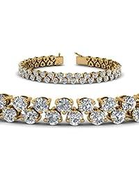 Silvernshine Jewels Pulsera de Tenis de Diamantes de imitación de Corte Redondo DE 5,3 Quilates, Oro Blanco de 14 Quilates, Plata de Ley 925