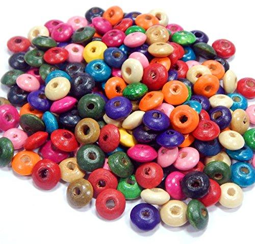 400stk Holzperlen 10mm Rondell mit Loch Bunte Ring Holz Perlen zum fädeln Perlenmischung für DIY Schmuck Herstellung Wood Beads H53