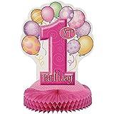 Unique Party - 23904 - Décoration de Table - 1st Birthday - Ballons - Nid d'Abeilles - Rose - 35 cm