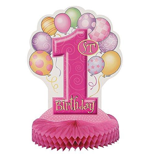 Partido Ênico 35 cm Honeycomb Globos primera fiesta de cumpleaños Decoración (rosa)
