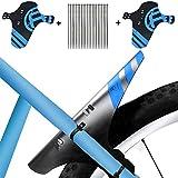 KOBWA Mudguard MTB Fahrrad, 2 Stücke Schutzblech Spritzschutz-Set Einstellbare Vorne Hinten Mountainbike Mudguard mit 12 Kabelbinder für 26