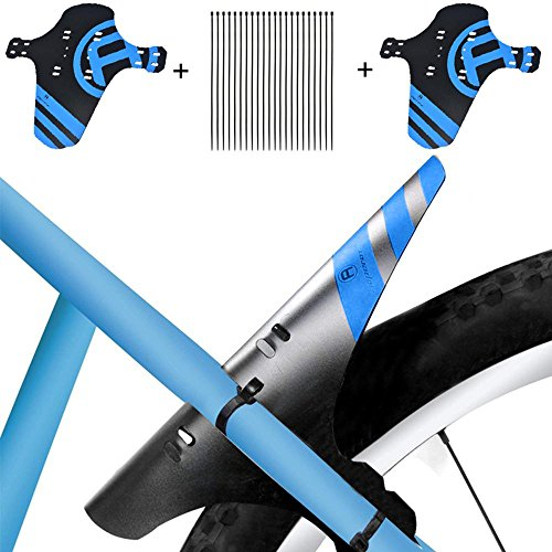 """KOBWA Mudguard MTB Fahrrad, 2 Stücke Schutzblech Spritzschutz-Set Einstellbare Vorne Hinten Mountainbike Mudguard mit 12 Kabelbinder für 26\"""",27\"""",27.5\"""",29\"""" Mountainbike Mud Guard"""