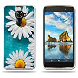 Alcatel Idol 4s/Windows/4 Pro Hülle,FUBAODA[Zwei weiße Chrysantheme]Transparente Silizium Clear TPU Design Clear Matt Soft Gummi Silikon Abdeckung Telefon Fall Schutz für Alcatel Idol 4s/Windows/4 Pro