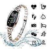 ydkj H8 Smart Armband Damen, Fitness Tracker Armband Frauen Smartband mit Pulsmesser Blutdruck Herzfrequenz Schlafmonitor Schrittzähler Wasserdicht IP67 Farbbildschirm Android iOS Handy (Gold)