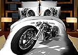 155x200 3D Bettwäsche Bettbezüge Bettwäschegarnituren Bettwäscheset Microfaser 3tlg schöne Farben und Muster Auto Autos Wagen car Motorrad Harley FPP 10