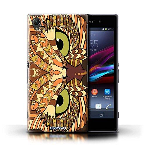 Coque en plastique pour Sony Xperia Z1 Collection Motif Animaux Aztec - Hibou-Mono Hibou-Orange