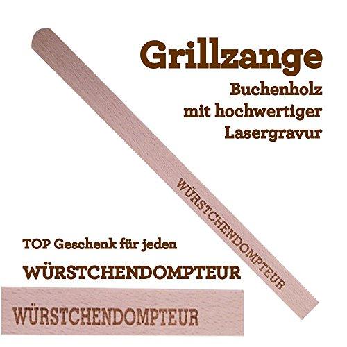Grillzange Aus Holz Mit Hochwertiger Gravur Wrstchendompteur