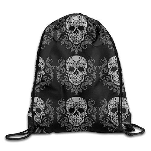 Setyserytu Sporttasche mit Kordelzug, Sportrucksack, Reiserucksack, Drawstring Bag Gym Bag Travel Backpack, Stylish Skull, Best Gym Backpack for Teen Kids pic5 (Skull Schuhe Kids)