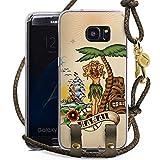 DeinDesign Samsung Galaxy S7 Edge Carry Case Hülle zum Umhängen Handyhülle mit Kette Tiki Hawaii Palmen Schiff