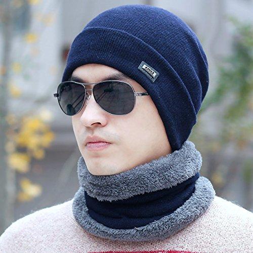 FQG*Tête Man Kit kit plus d'un hiver très épais non pelucheux oreille Chapeau hiver chaud visage noir élégant marée noire , Bleu marine