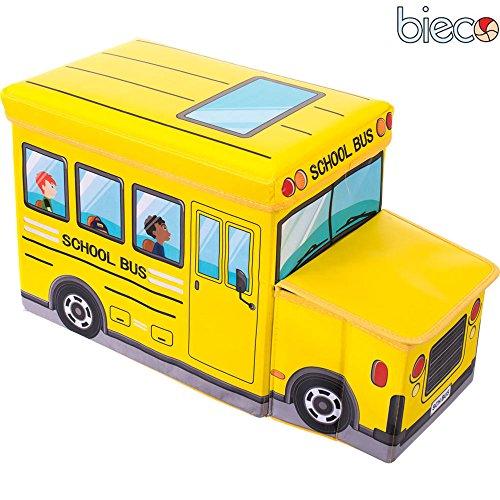 Preisvergleich Produktbild Kinder Staubox und Sitzbank Schulbus 55 x 26 x 31 cm Spielzeugbox gepolstert: Spielzeugkiste Spielzeugboxen Sitztruhe Spielzeugtruhe